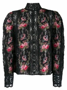 Love Shack Fancy Jacque flower embroidery top - Black