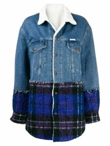 Forte Dei Marmi Couture plaid panel denim coat - Blue