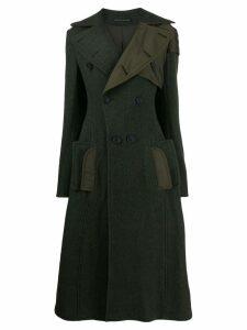 Yohji Yamamoto flared pannelled coat - Green