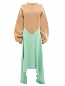 JW Anderson silk insert jumper dress - Green