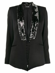 Styland embellished-lapel blazer - Black