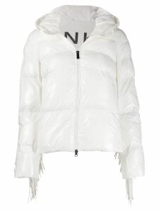 Pinko fringed trim puffer jacket - White