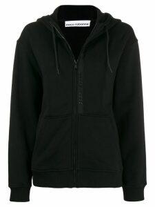 Paco Rabanne zipped drawstring hoodie - Black