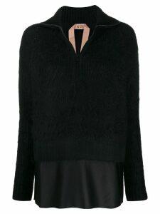 Nº21 layered-hem sweater - Black