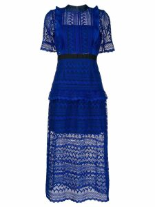 Self-Portrait geometric lace midi dress - Blue