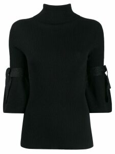 D.Exterior tied sleeve ribbed jumper - Black