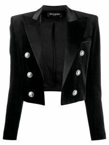 Balmain velvet cropped blazer - Black