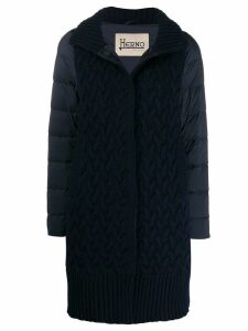Herno knitted front padded zip-up coat - Blue