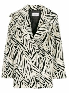 Forte Dei Marmi Couture abstract pattern wide-lapel coat - White