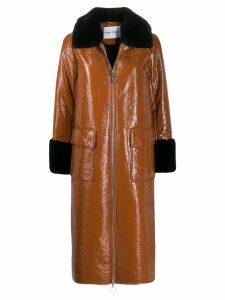 STAND STUDIO contrast zipped coat - Brown