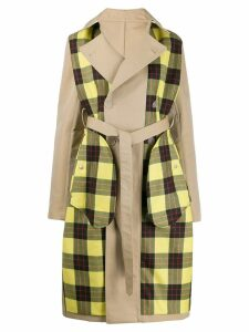 Unravel Project checked panels trench coat - NEUTRALS