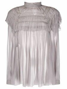 Alberta Ferretti embroidered chiffon blouse - Grey