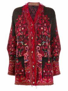 Etro bohemian print cardi coat - Black