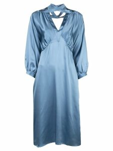 Fete Imperiale crossover V-neck silk dress - Blue