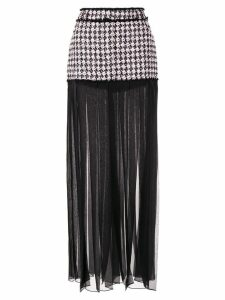 Balmain houndstooth sheer pleated skirt - Pink