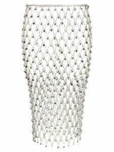 Paco Rabanne rhinestone chain mesh skirt - Silver