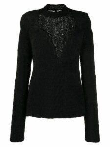 Unravel Project slim-fit inlay knit jumper - Black