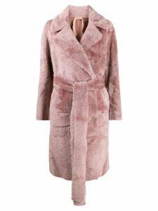 Nº21 belted fur coat - Pink