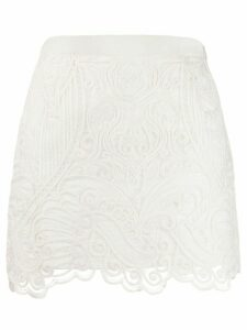 Wandering embroidered short skirt - White