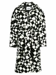 MSGM geometric-print faux-shearling coat - Black