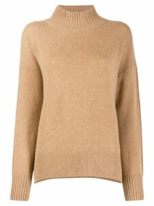 Allude ribbed turtle neck jumper - Brown