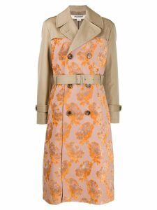 Junya Watanabe floral jacquard trench coat - NEUTRALS