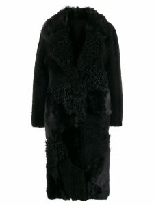 Drome shearling panel coat - Black
