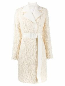 Helmut Lang textured fringe coat - Neutrals