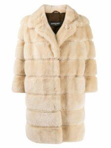 Simonetta Ravizza textured furry coat - NEUTRALS
