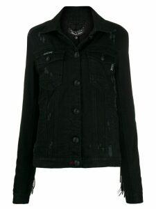 Philipp Plein distressed fringed denim jacket - Black