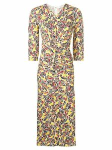Victoria Beckham gathered star-print dress - Brown