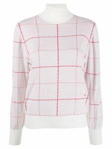 Victoria Beckham turtle neck check print sweater - White