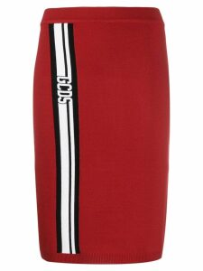 Gcds logo stripe skirt - Red
