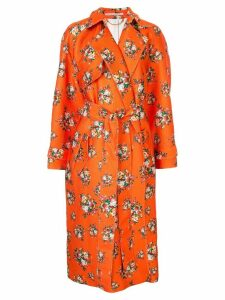 Emilia Wickstead Yves floral print trench coat - Orange