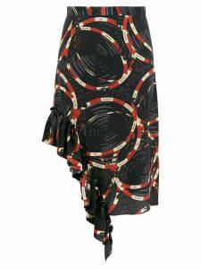 Rokh asymmetric graphic print skirt - Black