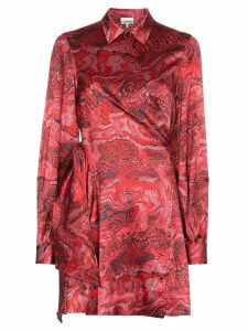 Ganni printed wrap mini dress - Red