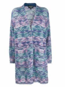Emporio Armani striped pattern single breasted coat - Blue