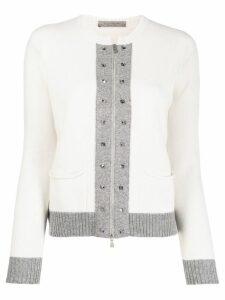 D.Exterior grey trim zipped cardigan - Neutrals