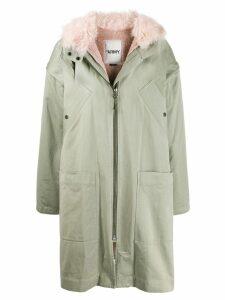 Yves Salomon Army hooded parka coat - Green