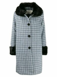 Charlotte Simone faux fur trim check coat - Blue
