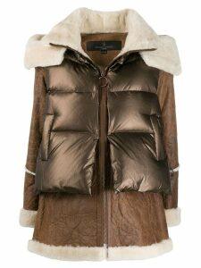 Nicole Benisti hybrid padded coat - Brown