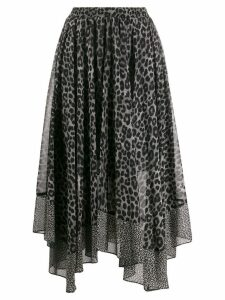 Michael Michael Kors Leopard Georgette scarf skirt - Black