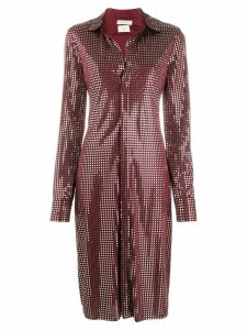 Bottega Veneta mirror embellished button-up dress - Red