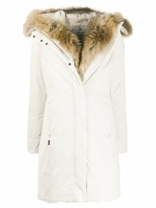 Woolrich faux-fur trim padded parka - White