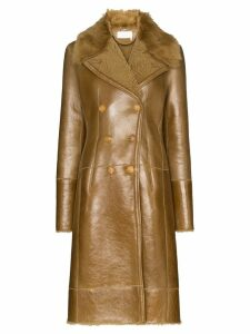 Chloé double-breasted shearling coat - Brown