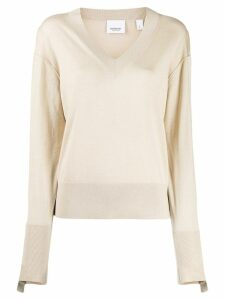Burberry logo embroidered jumper - Neutrals