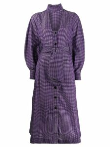 Ganni V-neck check dress - PURPLE