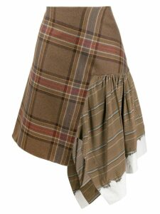 LANVIN tartan asymmetric skirt - Brown