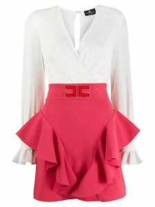 Elisabetta Franchi high waisted ruffled skirt - White