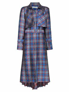 Silvia Tcherassi Donina check print trench coat - Blue
